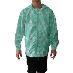 Mint Color Star   Triangle Pattern Hooded Wind Breaker (kids)