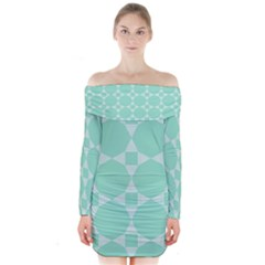 Mint Color Star   Triangle Pattern Long Sleeve Off Shoulder Dress