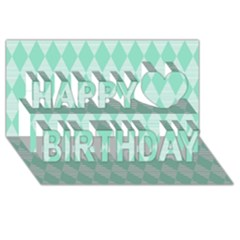 Mint Color Diamond Shape Pattern Happy Birthday 3d Greeting Card (8x4) by picsaspassion
