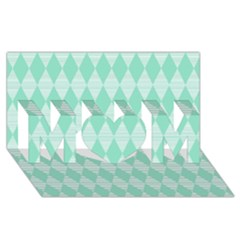 Mint Color Diamond Shape Pattern Mom 3d Greeting Card (8x4) by picsaspassion