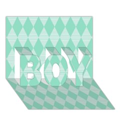 Mint Color Diamond Shape Pattern Boy 3d Greeting Card (7x5) by picsaspassion