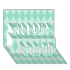 Mint Color Diamond Shape Pattern Thank You 3d Greeting Card (7x5) by picsaspassion