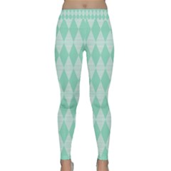 Mint Color Diamond Shape Pattern Yoga Leggings  by picsaspassion