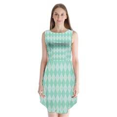 Mint Color Diamond Shape Pattern Sleeveless Chiffon Dress