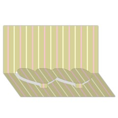 Summer Sand Color Pink And Yellow Stripes Twin Heart Bottom 3d Greeting Card (8x4) by picsaspassion