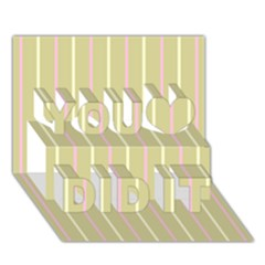 Summer Sand Color Pink And Yellow Stripes You Did It 3d Greeting Card (7x5) by picsaspassion