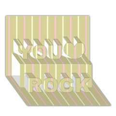 Summer Sand Color Pink And Yellow Stripes You Rock 3d Greeting Card (7x5) by picsaspassion