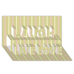 Summer Sand Color Pink And Yellow Stripes Laugh Live Love 3d Greeting Card (8x4) by picsaspassion