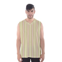 Summer Sand Color Pink And Yellow Stripes Men s Basketball Tank Top by picsaspassion