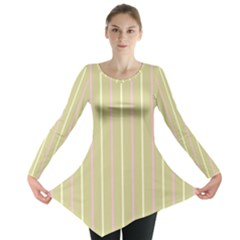 Summer Sand Color Pink And Yellow Stripes Long Sleeve Tunic  by picsaspassion