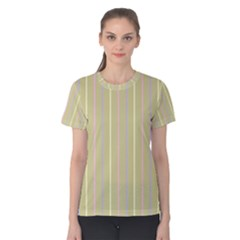 Summer Sand Color Lilac Pink Yellow Stripes Pattern Women s Cotton Tee