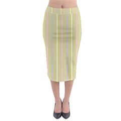 Summer Sand Color Lilac Pink Yellow Stripes Pattern Midi Pencil Skirt