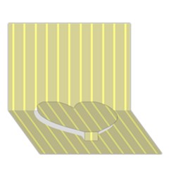 Summer Sand Color Yellow Stripes Pattern Heart Bottom 3d Greeting Card (7x5) by picsaspassion