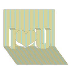 Summer Sand Color Blue Stripes Pattern I Love You 3d Greeting Card (7x5) by picsaspassion