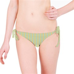 Summer Sand Color Blue Stripes Pattern Bikini Bottom by picsaspassion
