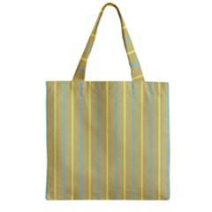 Summer Sand Color Blue And Yellow Stripes Pattern Zipper Grocery Tote Bag by picsaspassion