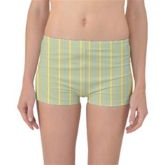 Summer Sand Color Blue And Yellow Stripes Pattern Reversible Boyleg Bikini Bottoms