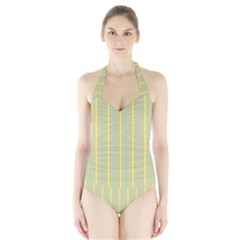 Summer Sand Color Blue And Yellow Stripes Pattern Halter Swimsuit