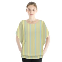 Summer Sand Color Blue And Yellow Stripes Pattern Blouse