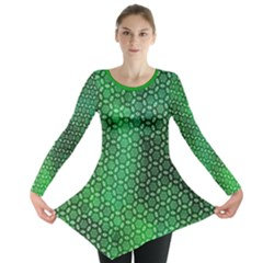 Green Abstract Forest Long Sleeve Tunic  by DanaeStudio