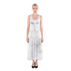 Honeycomb Pattern Graphic Design Sleeveless Maxi Dress by picsaspassion