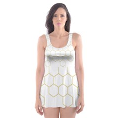 Honeycomb Pattern Graphic Design Skater Dress Swimsuit