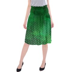 Ombre Green Abstract Forest Midi Beach Skirt by DanaeStudio