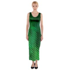 Ombre Green Abstract Forest Fitted Maxi Dress by DanaeStudio