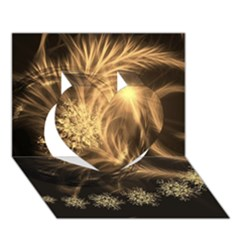 Golden Feather And Ball Decoration Heart 3d Greeting Card (7x5) by picsaspassion