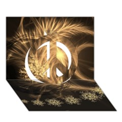 Golden Feather And Ball Decoration Peace Sign 3d Greeting Card (7x5) by picsaspassion