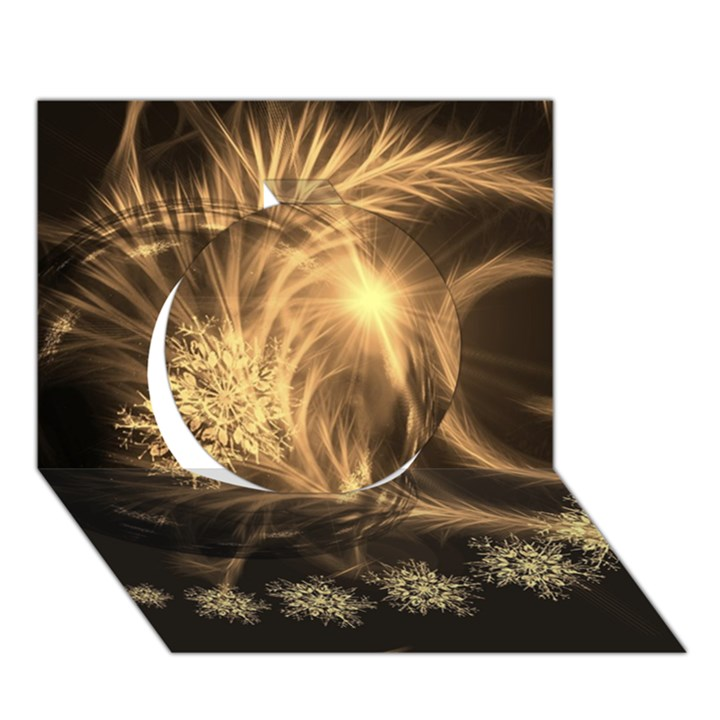 Golden feather and ball decoration Circle 3D Greeting Card (7x5)