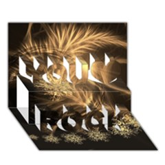 Golden Feather And Ball Decoration You Rock 3d Greeting Card (7x5) by picsaspassion