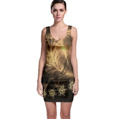 Golden Feather And Ball Decoration Sleeveless Bodycon Dress