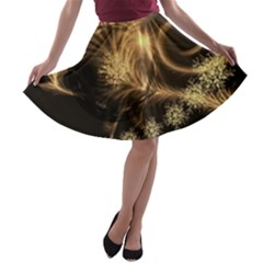 Golden Feather And Ball Decoration A-line Skater Skirt