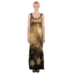 Golden Feather And Ball Decoration Maxi Thigh Split Dress by picsaspassion