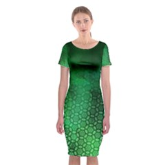 Ombre Green Abstract Forest Classic Short Sleeve Midi Dress by DanaeStudio