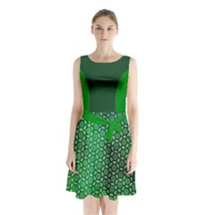 Green Abstract Forest Sleeveless Chiffon Waist Tie Dress