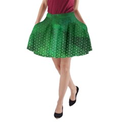 Ombre Green Abstract Forest A Line Pocket Skirt by DanaeStudio