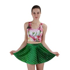 Ombre Green Abstract Forest Mini Skirt by DanaeStudio