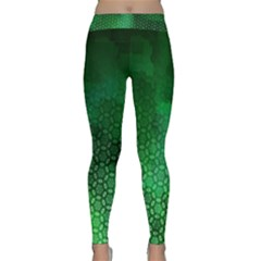 Ombre Green Abstract Forest Yoga Leggings  by DanaeStudio