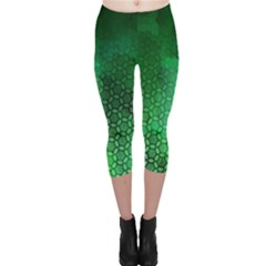Ombre Green Abstract Forest Capri Leggings  by DanaeStudio