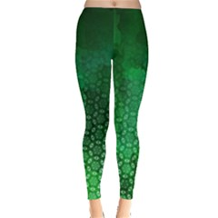 Ombre Green Abstract Forest Leggings  by DanaeStudio