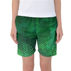 Ombre Green Abstract Forest Women s Basketball Shorts by DanaeStudio