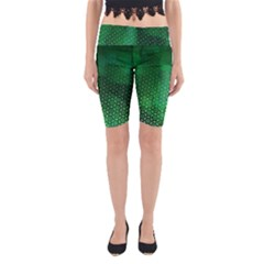 Ombre Green Abstract Forest Yoga Cropped Leggings by DanaeStudio