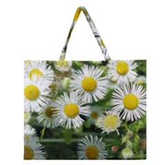White Summer Flowers, Watercolor Painting Zipper Large Tote Bag