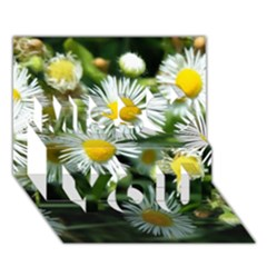 White Summer Flowers Oil Painting Art Miss You 3d Greeting Card (7x5)