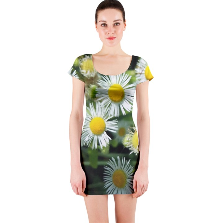 White summer flowers oil painting art Short Sleeve Bodycon Dress