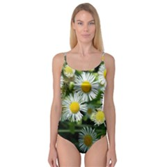 White Summer Flowers Oil Painting Art Camisole Leotard  by picsaspassion
