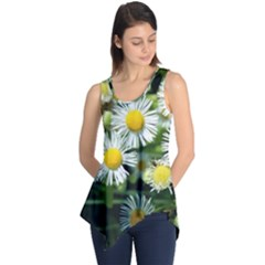 White Summer Flowers Oil Painting Art Sleeveless Tunic by picsaspassion