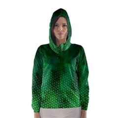 Ombre Green Abstract Forest Hooded Wind Breaker (women) by DanaeStudio